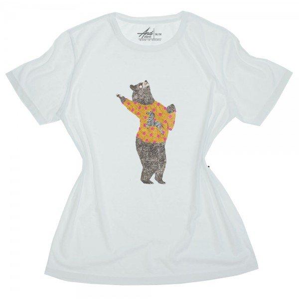 camiseta feminina urso de jaqueta
