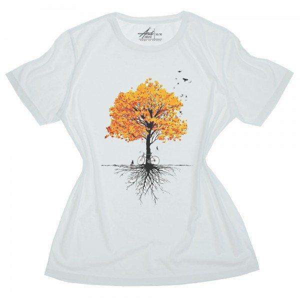 camiseta feminina branca arvore raiz
