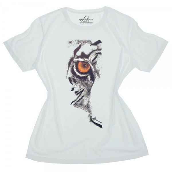 camiseta feminina branca olhar de tigre
