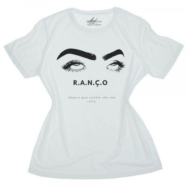 camiseta feminina branca ranco olhos